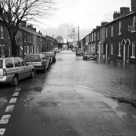 flooded streets in urban area